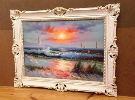 Bild mit Rahmen Leuchtturm Meer Sonnenuntergang 90x70 Kunstdruck Bild Wandbild