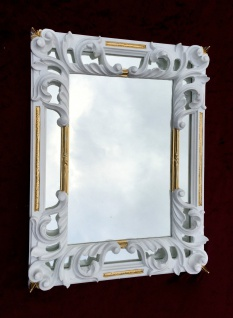 Wandspiegel Barock weiß Gold Shabby Rechteckig Antik Badspiegel 41X32 C491Sp