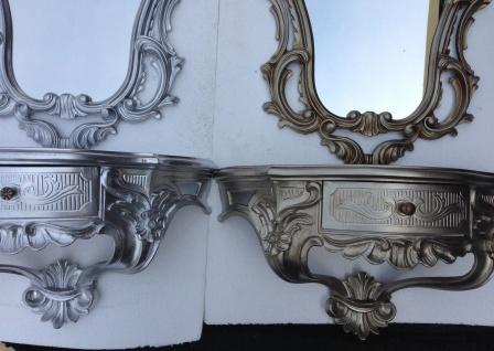 Wandspiegel Oval mit Konsole Alt Silber Antik 50x76 Barock Wandspiegel Set - Vorschau 5
