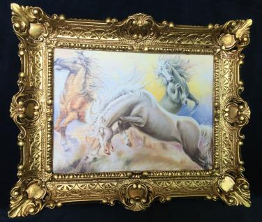 Bild mit Rahmen Wilde Pferde Wandbild 57x47 Gerahmte Gemälde Gold PFERD
