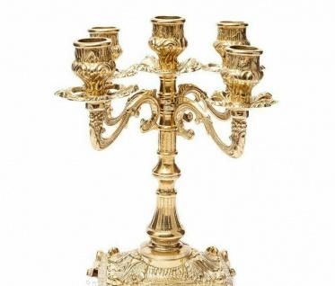 Kerzenhalter KerzenstÄnder Messing Deko Gold 5 Armig Kerzenleuchter Ständer 411 - Vorschau 3