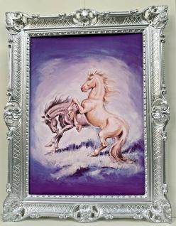 Gerahmte Pferde Bild Gemälde Bilderahmen Silber Bild mit Barock Rahmen 90x70cm