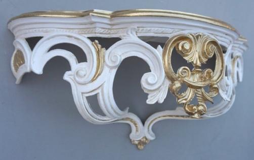 Regal Wandkonsole Weiß Gold-ivory BAROCK Spiegel KONSOLE 50x20x24 ANTIK