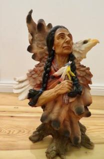 Indianer mit Adler Westernfiguren 35x23 Indianerfigur groß Western Deko Statue