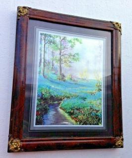 Bild mit Rahmen Landschaftsbild Blumenfeld Holzoptik Braun 31x26cm Barock Rahmen - Vorschau 4