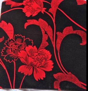 2x Kissenhüllen Kissenbezüge Sofakissen Rot-Schwarz 45x45cm blumen reißverschluß