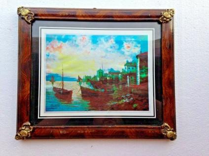 Bild mit Rahmen Schiffe Kleiner Hafen Bild Schiff Holzoptik Braun 31x26cm