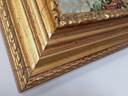 Bild mit Rahmen Holz Gemälde 90x70cm Landschafts Fluss Bauern Kutsche Wunschbild - Vorschau 4