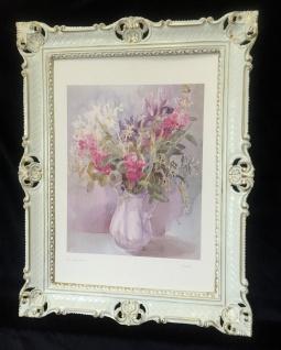 Blumen Rosen Bild 90x70 Bild mit Rahmen Rosen Blumen in Vase Gemälde gerahmt B7