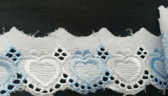 Spitzenborte Herz blau weiss 4 cm Bordüre Saum Tischdecke Gardine Kissen Bett