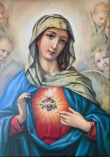 Heilige MARIA Gerahmte Gemälde Rahmen silber 90x70 Madonna Ikonen JESUS CHRISTUS