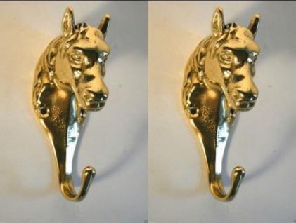 2 x Wandhaken Messing Kleiderhaken Garderobenhaken Pferdekopf Antik Gold 13cm