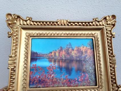 Gemälde 33x28 Antik Barock Rechteckig Bild mit Rahmen LEINWAND Landschaft