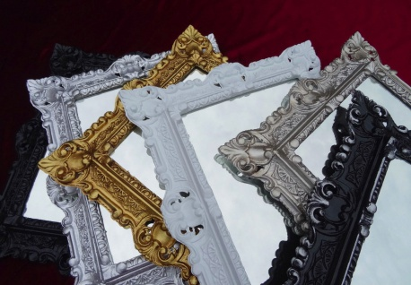 Wandspiegel Antik Silber Badspiegel Barock 45x38 Rechteckig Spiegel Wanddeko