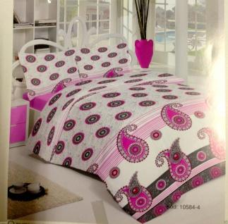 Bettwäsche Garnituren 4 teilig Baumwolle 200x220cm Bettbezug Rosa grau Weiß