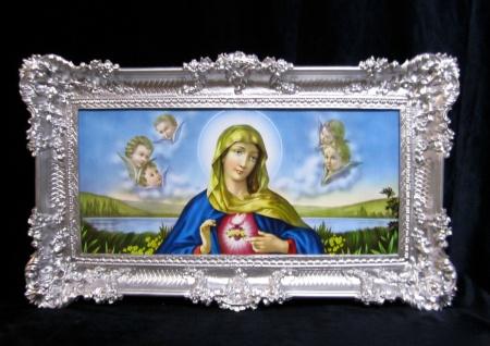 Bild mit Rahmen Bilderrahmen Silber Heilige Maria 97x58 Gemälde Bild