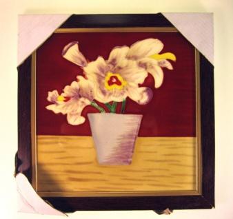 Blumen-Küchenbild Wanddeko Wandbild Bilder zum Aufhängen Keramikbild HOLZ