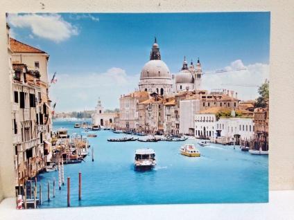 LED Bild + Beleuchtung Leinwand Canal Grande Venedig Wandbild Leuchtbild 60x80