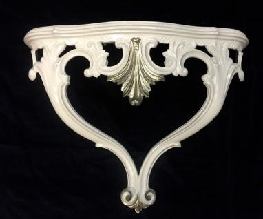 Wandkonsole Weiß-Silber Barock Konsole Antik 56x45 Spiegelkonsole Hängekonsole