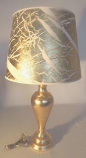 Tischleuchte , Nachttischlampe , Tischlampe 73 cm Gold - Weiß Muster