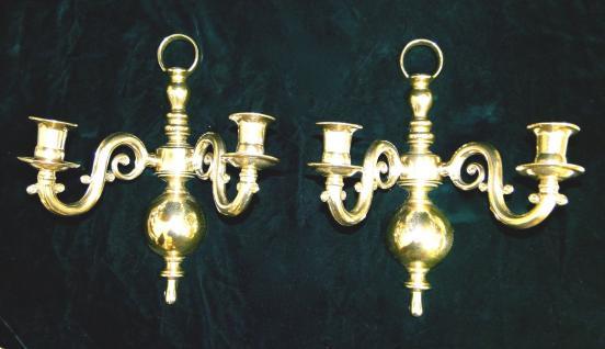 2x Wandkerzenhalter, Kerzenleuchter KLAVIERLEUCHTER Messing Antik HOCHPOLIERT
