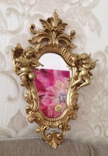 Wandspiegel Gold, Weißgold Barock Oval Engel Spiegel Antik 36x23 Badspiegel