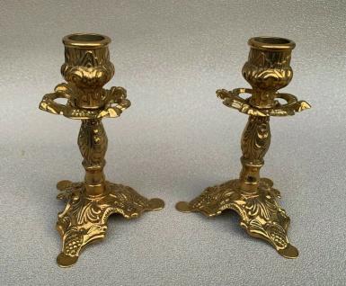 2 x Kerzenleuchter Messing Kerzenständer Gold Kerzenhalter Höhe14cm 80323