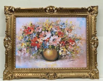 Gemälde Blumenbild stillleben 90x70 Blumen in Vase Gold Rosen Bild Barock Rahmen