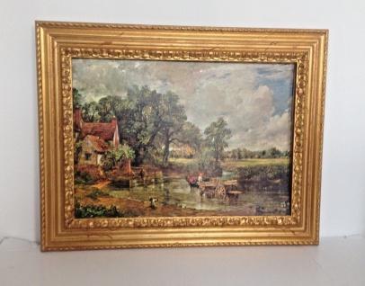 Bild mit Rahmen Holz Gemälde 90x70cm Landschafts Fluss Bauern Kutsche Wunschbild - Vorschau 2