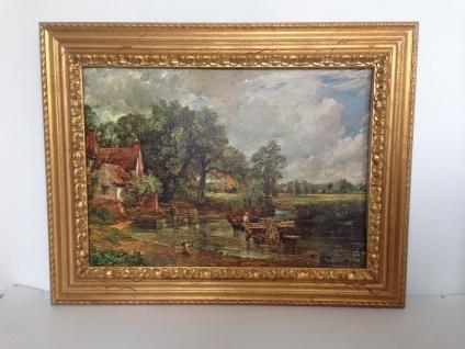 Bild mit Rahmen Holz Gemälde 90x70cm Landschafts Fluss Bauern Kutsche Wunschbild - Vorschau 3