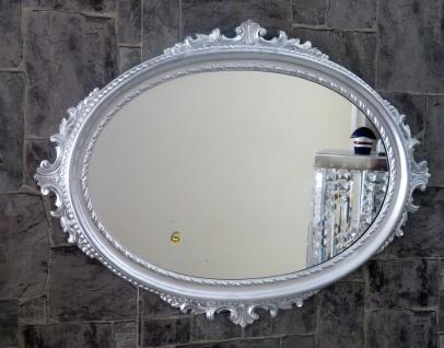 Wandspiegel Silber Oval Barock Badspiegel Spiegel Antik 62x48cm Flurspiegel C12