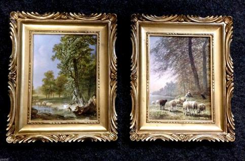 Bilderrahmen Gemälde Landschaft Schaf Schäfer 33x28 Antik BAROCK Bild LEINWAND