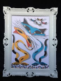 Gemälde Katzen Bild mit Rahmen Tiere Gerahmte Bild Bilderrahmen 90x70 Katzen