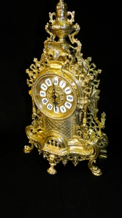 Kaminuhr MESSING Tischuhr Standuhr ANTIK BAROCK GOLD 42cm MASSIV NEU