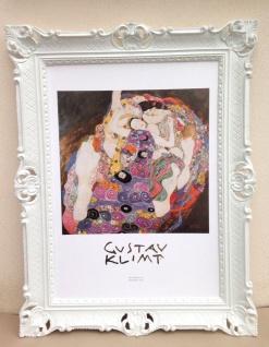 Gemälde Bild mit Rahmen 90x70 Die Jungfrau Gustav Klimt Barock Bilderrahmen Weiß