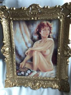 Akt Erotik Gemälde Frau Kunstdruck 56x46 Fächer Nackt Bild & Rahmen Barock Gold - Vorschau 3