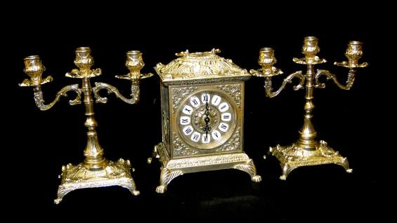 Kaminuhr Set Messing mit Kerzenständer Barock Tischuhr*Antik*Uhr Kaminset Uhr - Vorschau 3