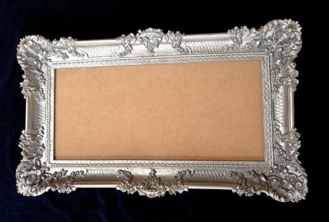 Großer Bilderrahmen Barock Antik Silber 97x57 Rahmen Fotorahmen mit Glasscheibe