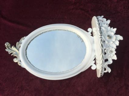 Wandspiegel Weiss Silber Barock mit Wandkonsole Antik Spiegel 48x25 Oval cp91 - Vorschau 4