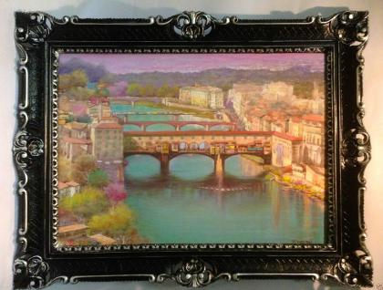 Gemälde Ponte Vecchio Brücke Florenz Aquarell 90x70 Bild mit Rahmen Italien