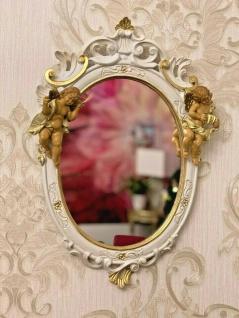 Wandspiegel Barock Weiß Gold Engel Spiegel Antik 50X32 Spiegel Oval Shabby