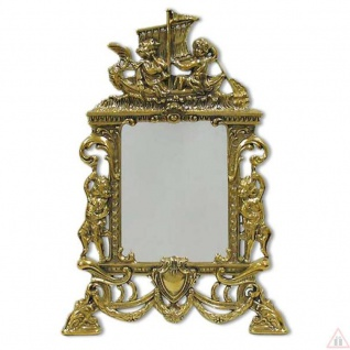 Tischspiegel Schminkspiegel Messing Gold 25x17Antik Barock TaschenSpiegel 9x13cm