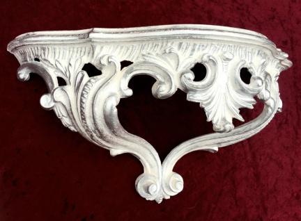 Konsole, Ablage Weiß-Silber Antik, Barock 38x20x16 Wandkonsole Wandregale 103083 - Vorschau 3