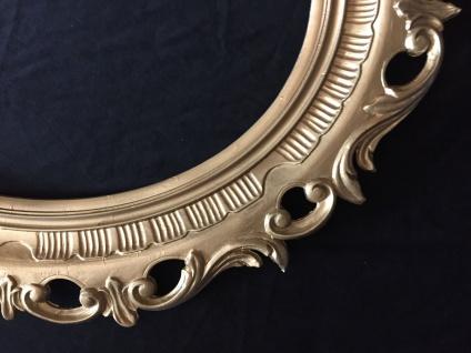 Bilderrahmen Oval gold Hochglanz Barock Groß Fotorahmen Antik 58x68 mit Glas
