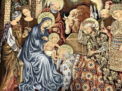 Wandteppich Gobelin Heilige Anbetung der Könige von Leonardo Da Vinci135x105