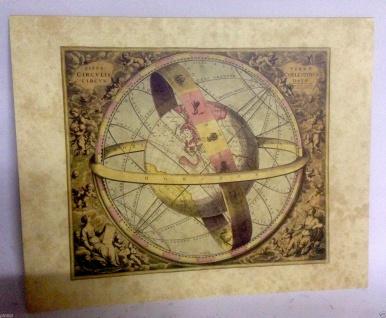 Die Erde und ihre himmlischen Kreise Weltkarte Antik Bild 50x60 Kunstdruck