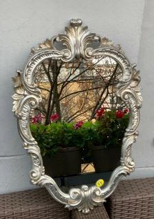 Wandspiegel Antik Silber Oval Vintage Badspiegel Barock Shabby 49X33 Rokoko