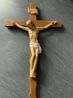 Christliche Kruzifix Kreuz Jesus Christus Wandkreuz 28x15 Holz Altarkreuz