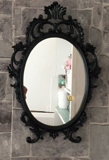 Wandspiegel Oval barock Gold Silber Schwarz Weiß 43x28cm Spiegel Antik Shabby - Vorschau 2