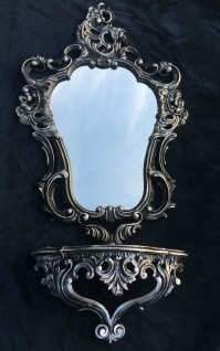 Spiegelablage Wandspiegel Schwarz Silber mit Wandkonsole Antik 50x76 BAROCK 3039